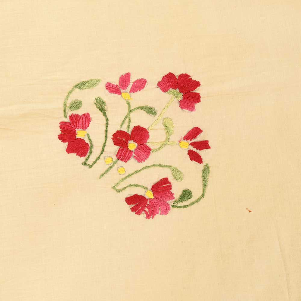 Peach Orange Cotton Embroidered Bedsheet
