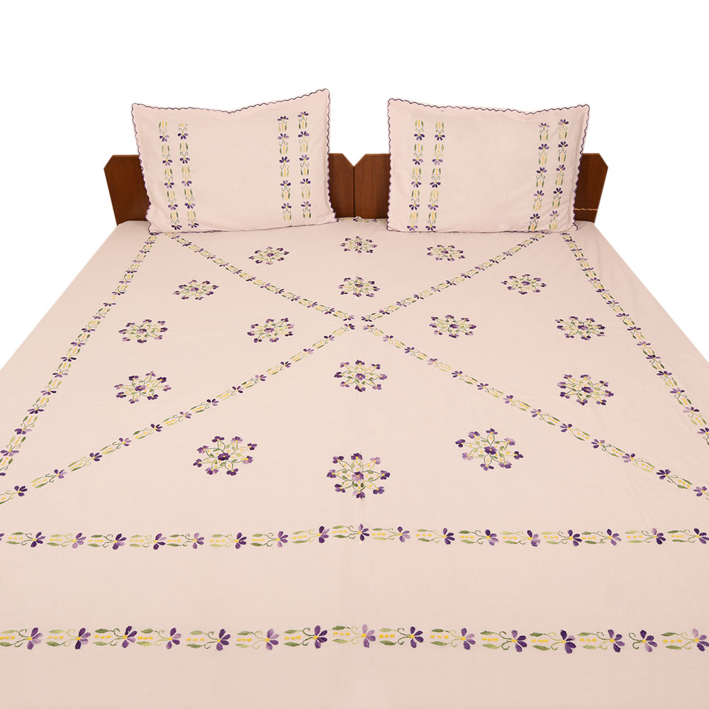 Light Pink Cotton Double Bedsheet
