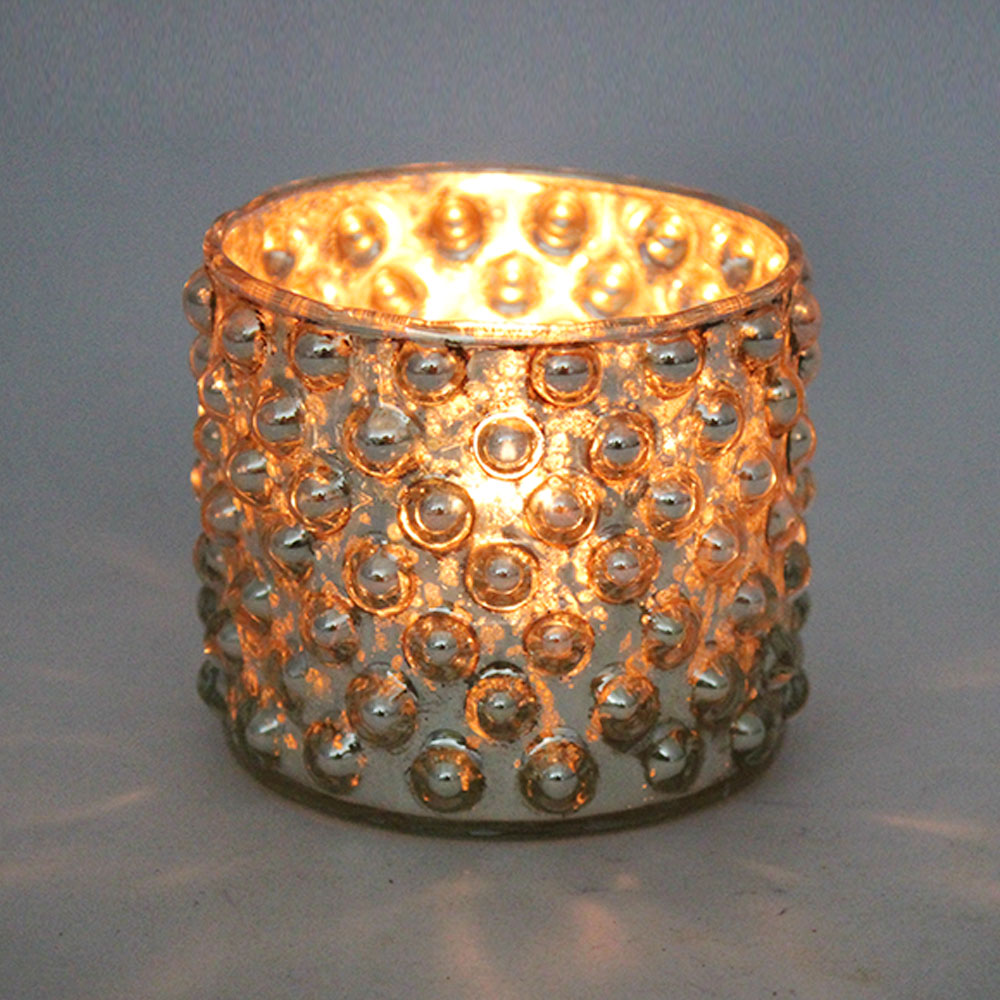 Silver Vintage Effect Cup Candle Holder