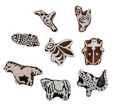 Set of 8 Piece New Mix Wooden Printing Block