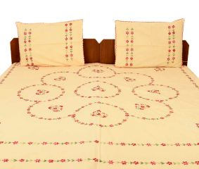 Peach Orange Cotton Embroidered Bedsheet