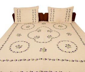 Papaya Peach Cotton Double Bedsheet