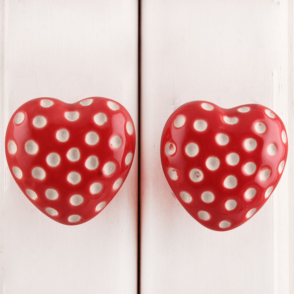 Red Heart Etched Ceramic Dresser Knob