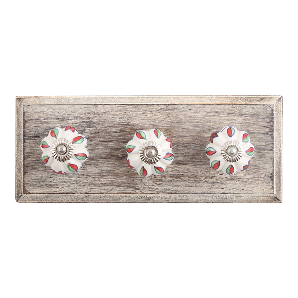 Plumeria Mystical Flower Ceramic Wooden Hooks