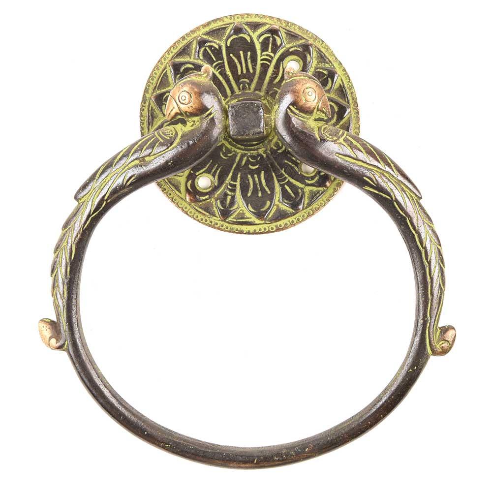 Brass Alloy Door Handle Ring Flanked