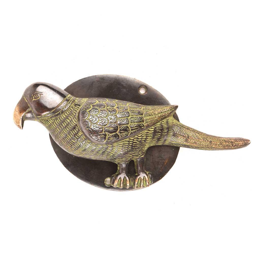Black Door Knocker Brass Parrot Figurine