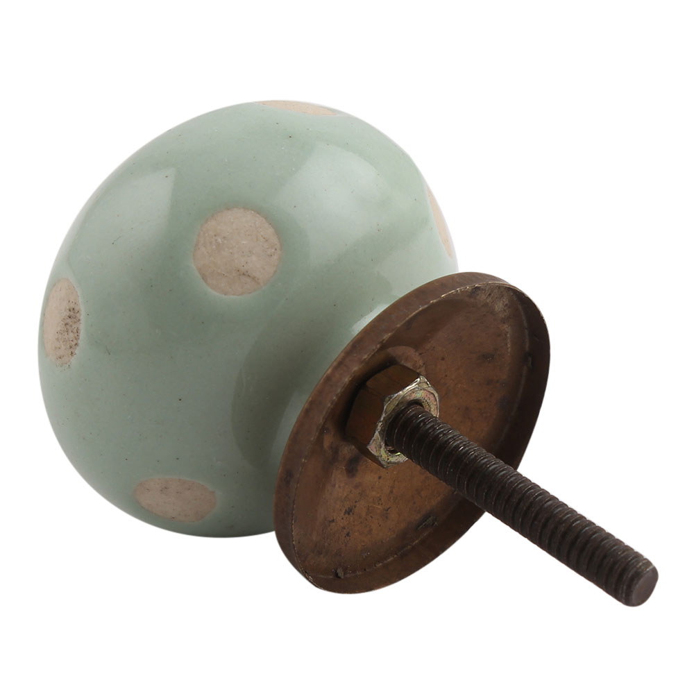 Sage Green Etched Dot Ceramic Drawer Knob
