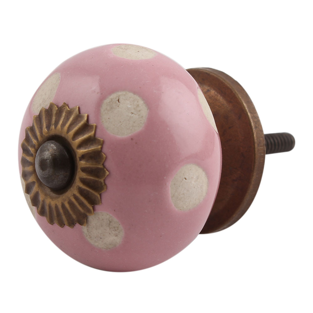 Pink Etched Dot Ceramic Drawer Knob