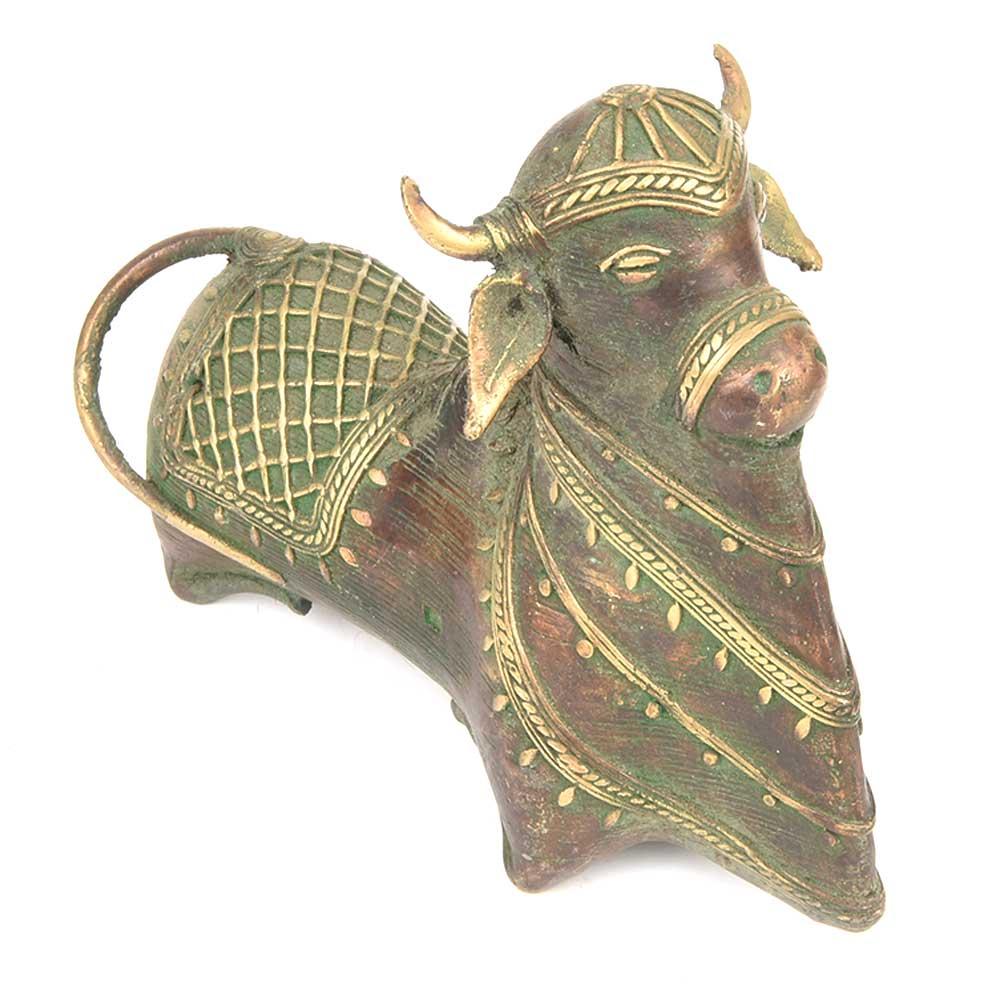 Sitting Nandi Brass Figurine in Brass