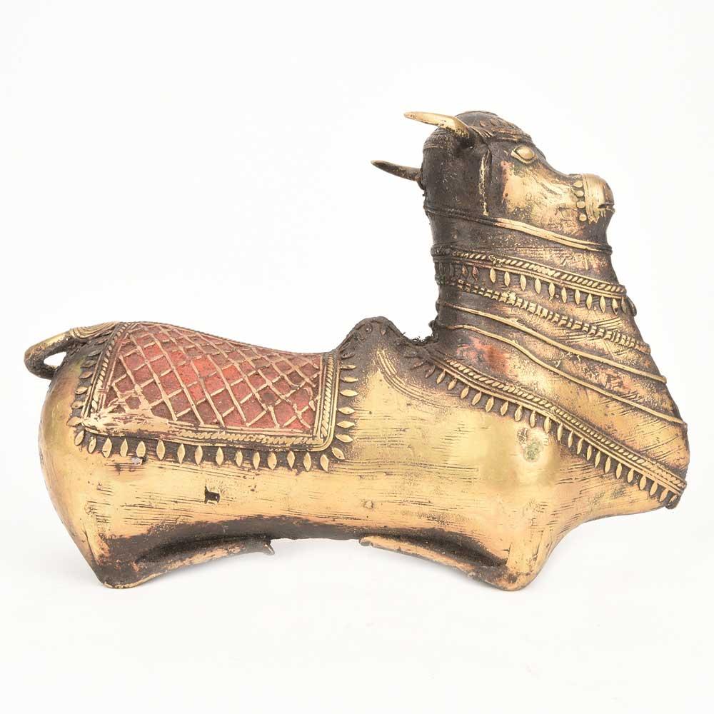 Sitting Bull Handmade Dhokra Art in Brass