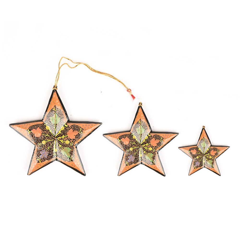 3 Peach Colored Handcrafted Christmas Star Ornaments With Flower Motifs Online