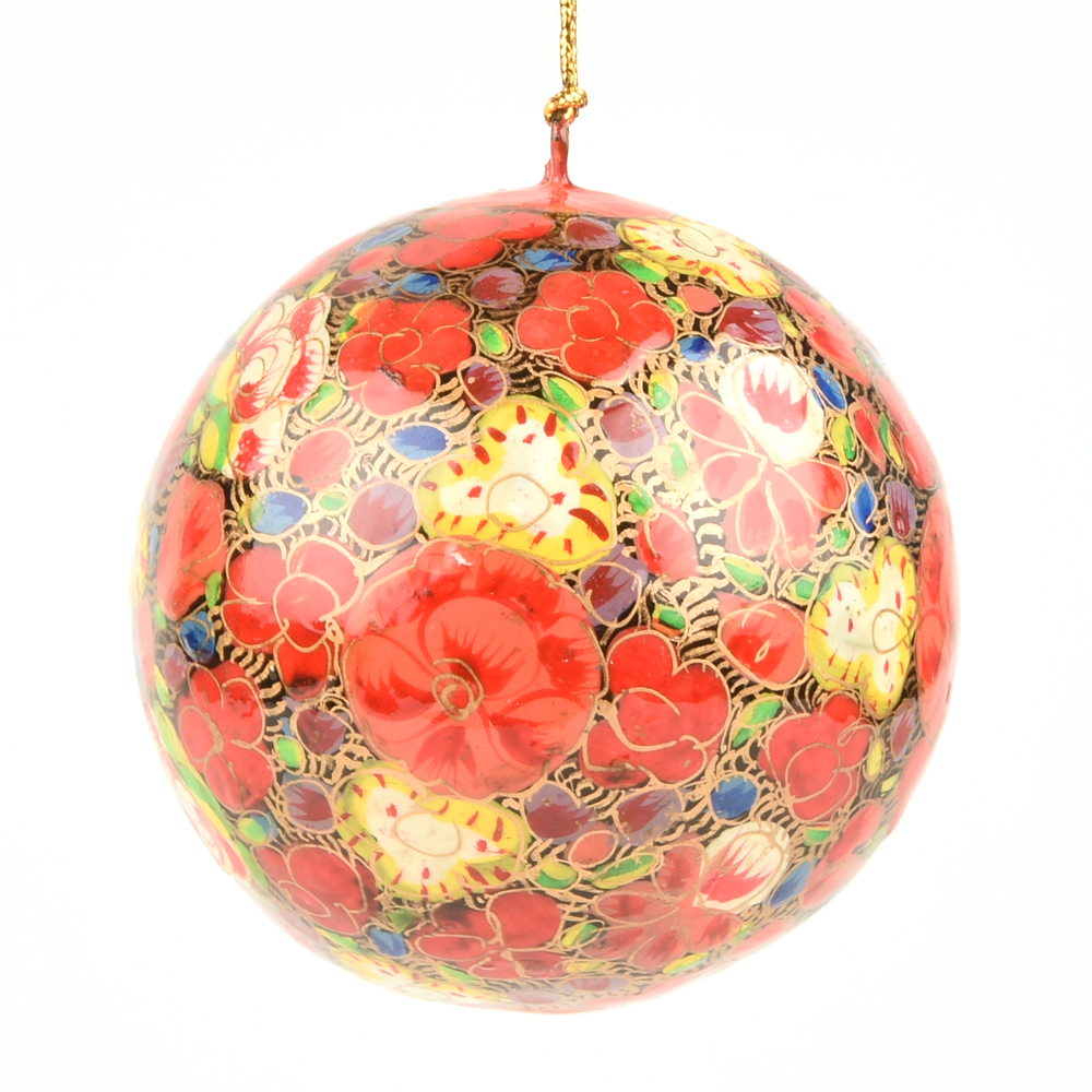 orange floral christmas ornament ballchristmas tree decoration