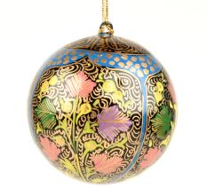 Hand Painted Golden Christmas Tree Handmade Paper Mache Ball Ornament