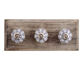 Blue Lotus Ceramic Wooden Hooks