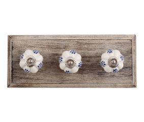 Blue Protea Ceramic Wooden Hooks