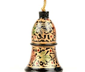 Cream Black Hand Painted Hand Hanging Paper Mache Bell