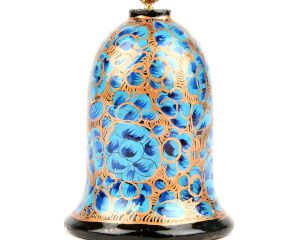 Turquoise Hand Painted Paper Mache Bell Christmas Hanging