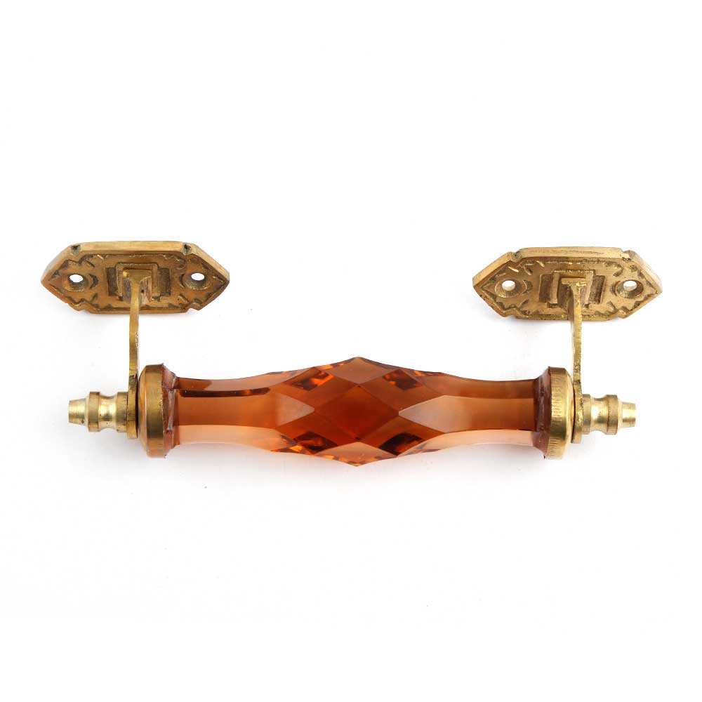 Amber Glass Cut Cabinet Handles