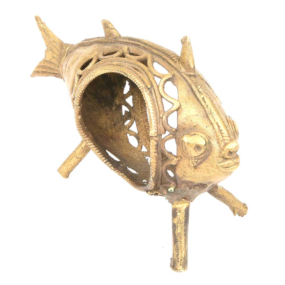 Handmade Dhokra Brass Fish Napkin Holder