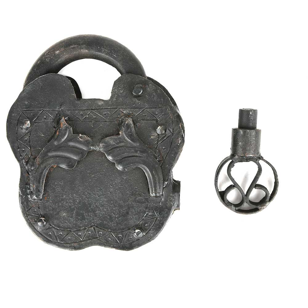 Indian Old Iron Hand Carved Lock & Key