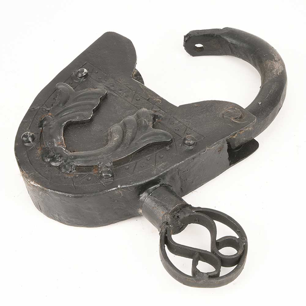 Old Handmade Vintage Rare Iron Lock and Key Collectible