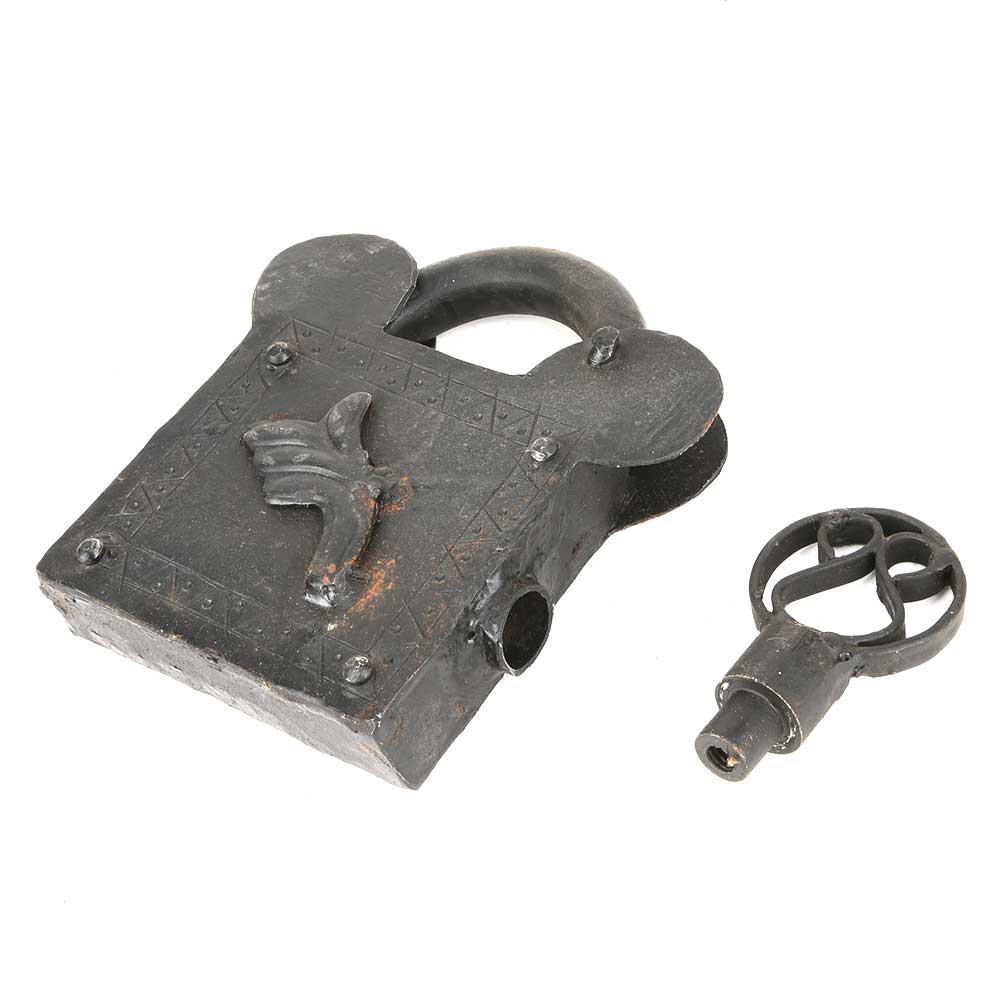 Iron Lock and Key Old Vintage Useful Home Collectible