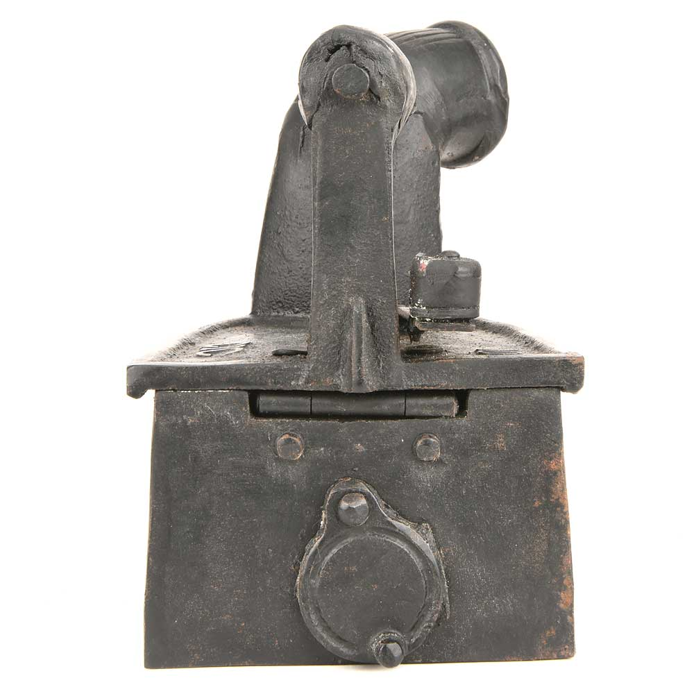 Coal Fired Clothes Press Cast Iron with Wooden Handle and Chimney