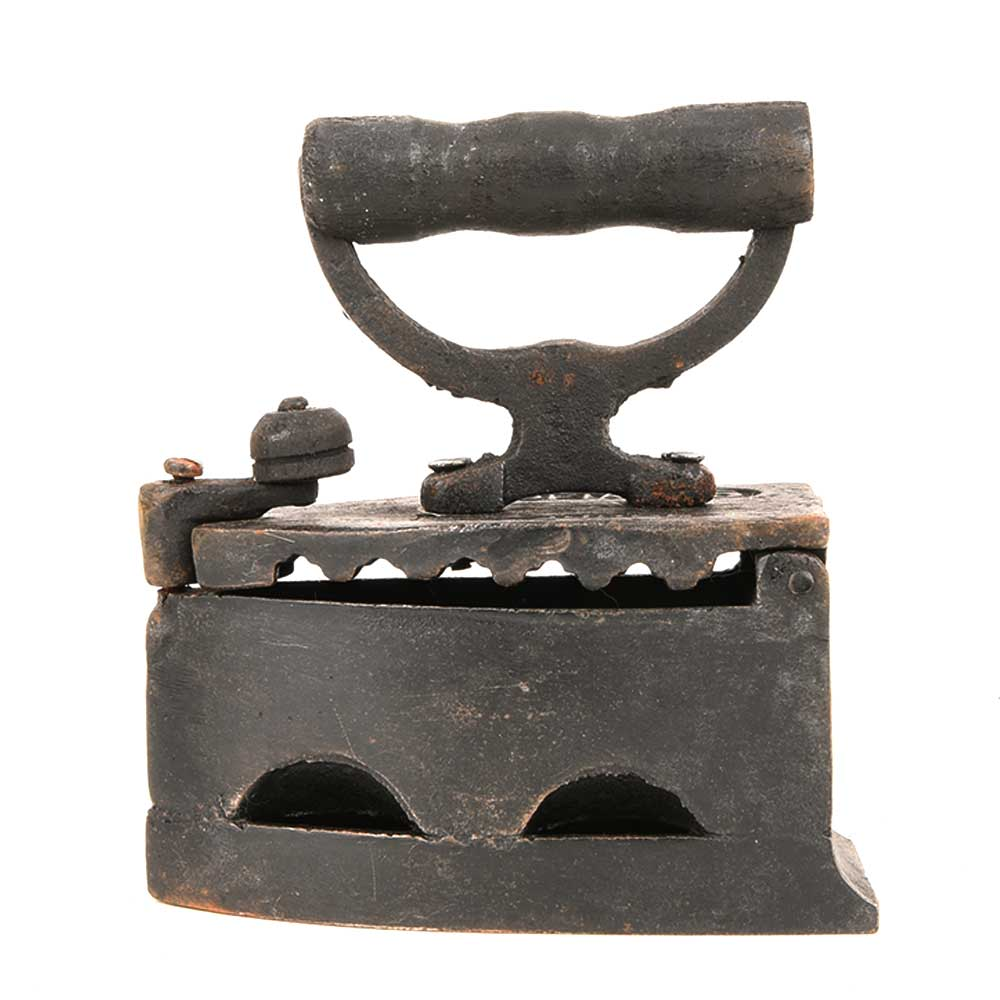 Vintage Coal-Fired Iron with Wood Shapely Handle and Cast Iron Body