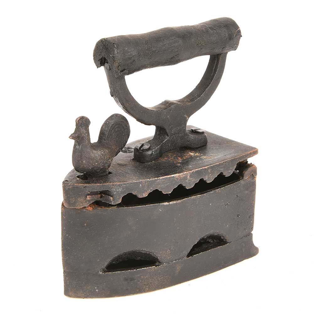 Old Collectible Coal Iron Charcoal Cast Iron with Chicken Latch Rooster Lock