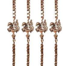 Brass Swing Chain Set With Handmade Elephant And Peacock Statues (Set Of 4 Piece)