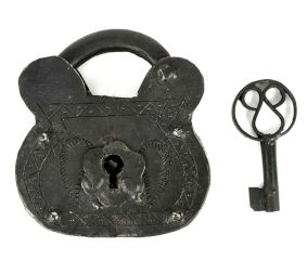 Old Handmade Industrial Lock- Strong Box Lock with Its Key
