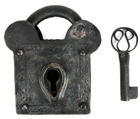 Elephant Vintage Style Handmade Iron Pad Lock with Its Key