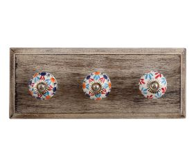 Red Blue Clover Ceramic Wooden Hooks