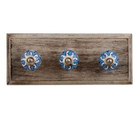 Blue Flower Ceramic Wooden Hooks