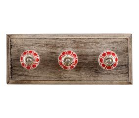 Red Baluster Ceramic Wooden Hooks