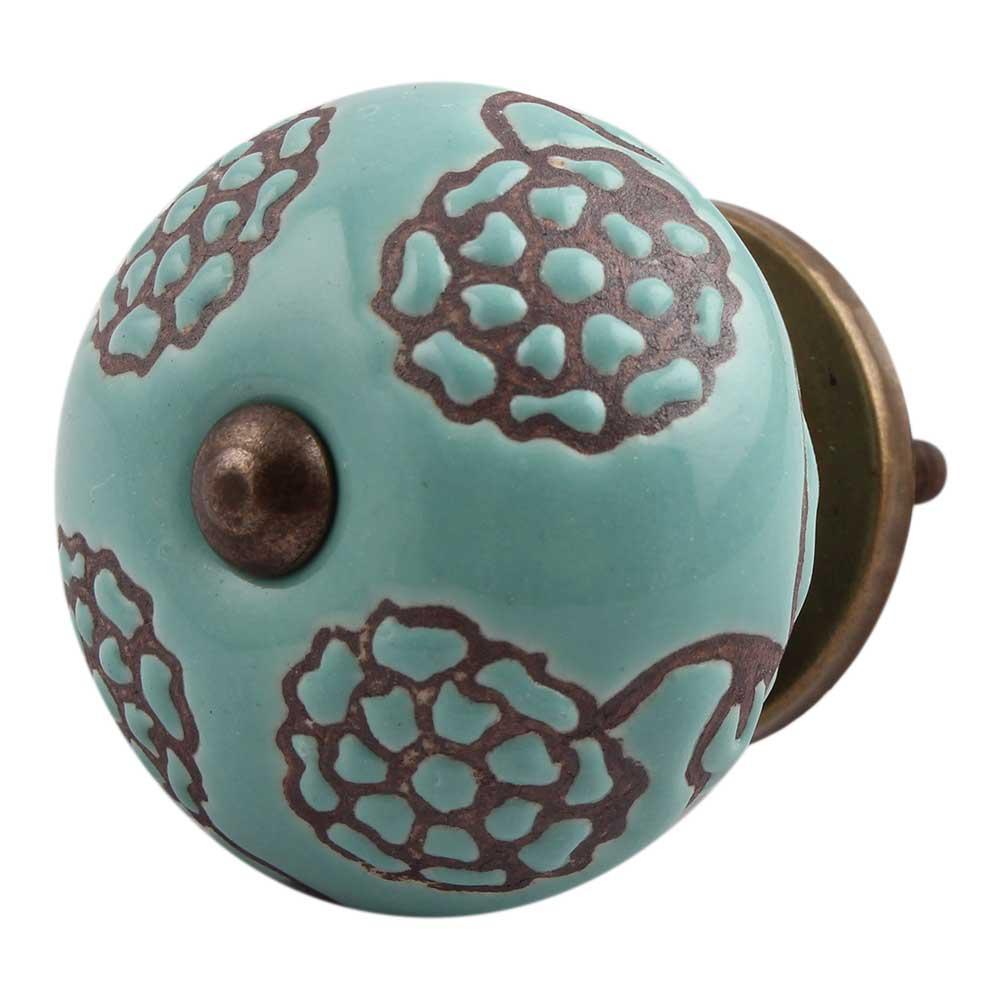 Brown Marigold Ceramic Floral Dresser Knob