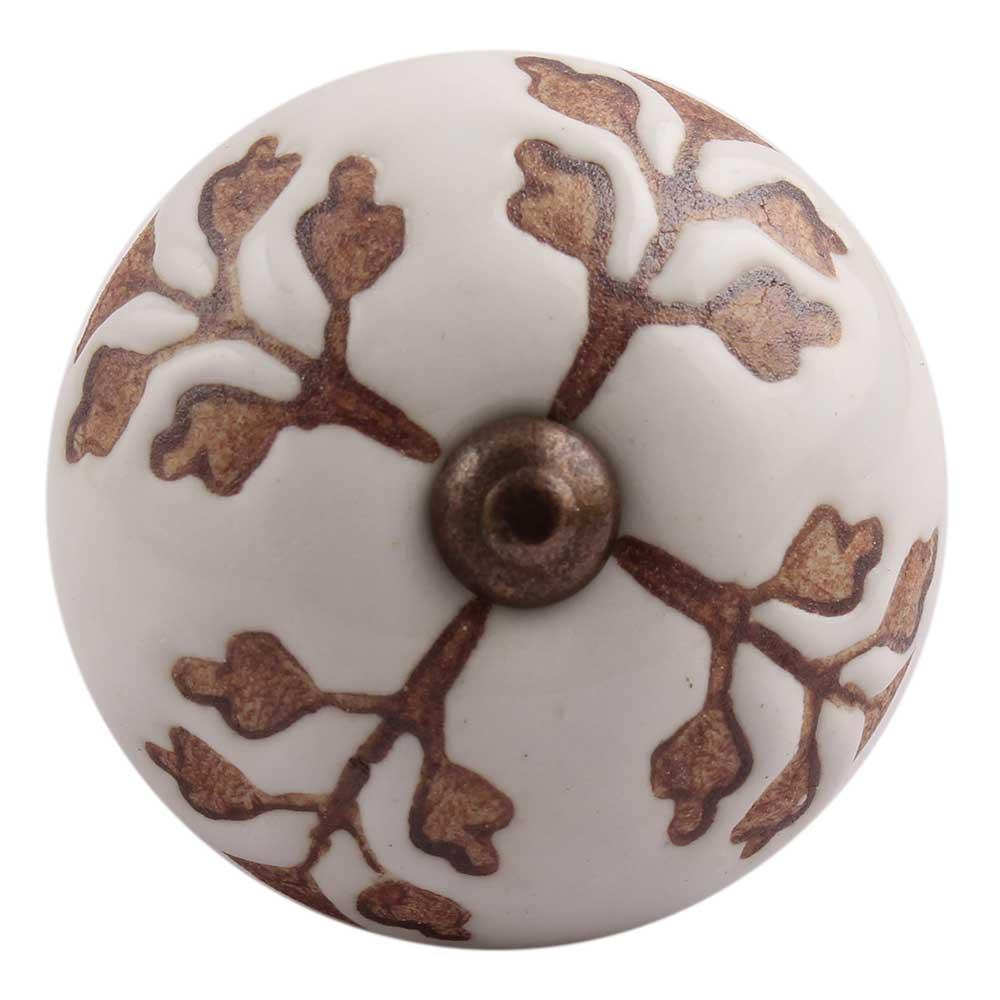Brown Leaf Cut Flower Etched Ceramic Drawer Knob