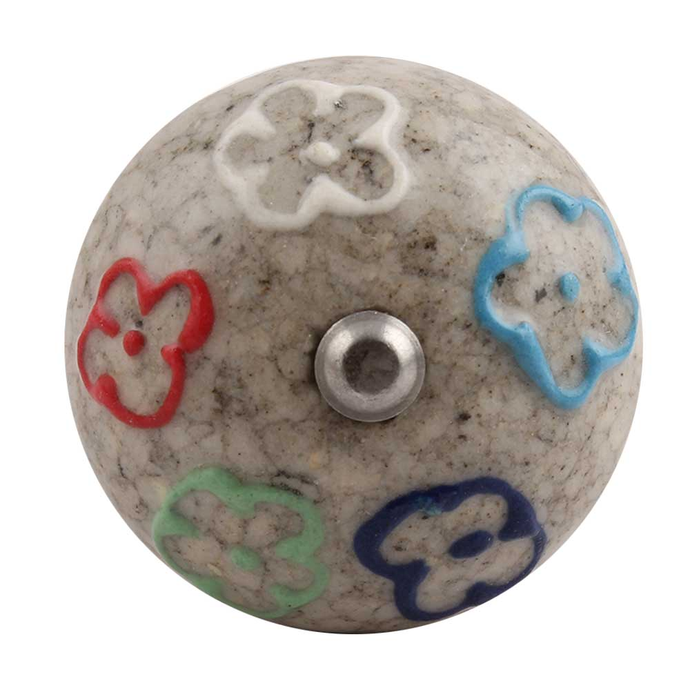Multi Colored Floral Crackle Ceramic Wine Stopper