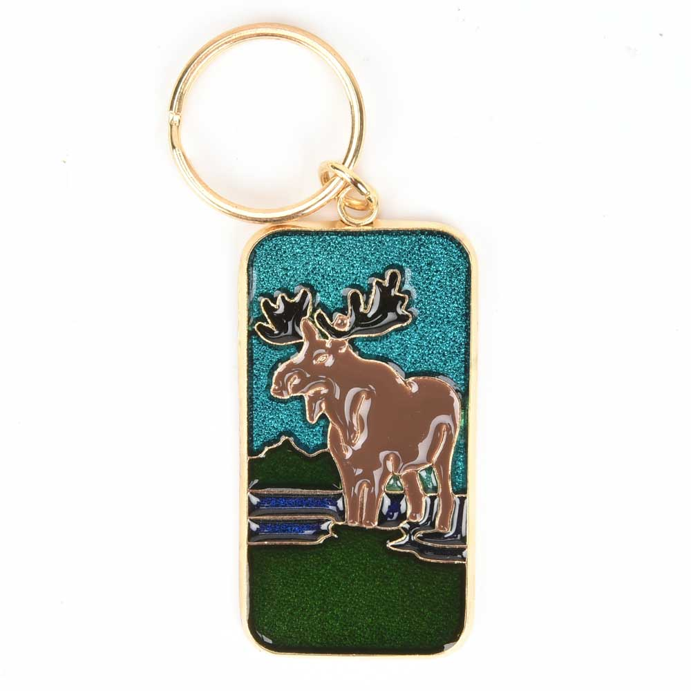 Brass Brown Reindeer Colorful Key Chain