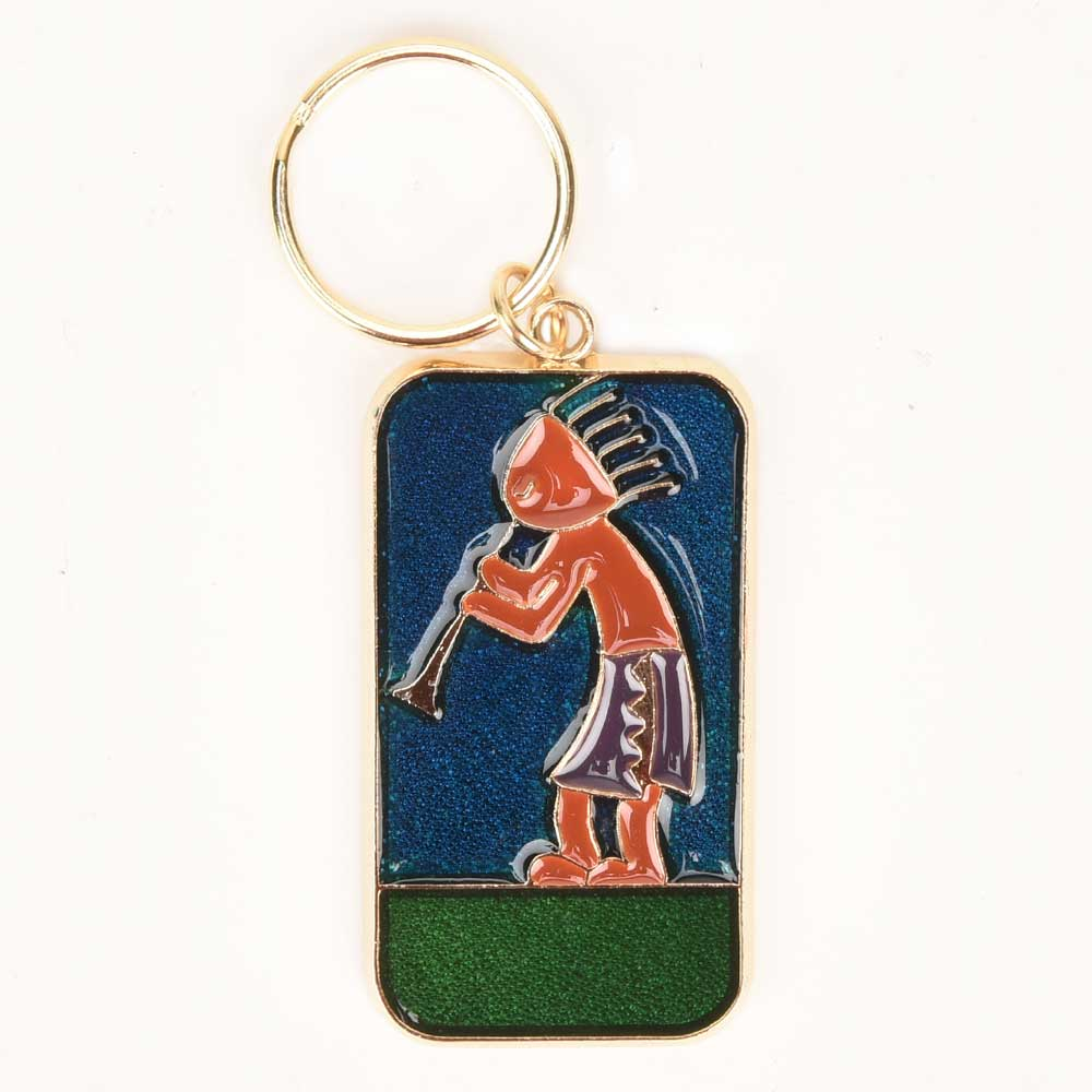 Young Tribal Boy Playing Trumpet Brass Key Chain