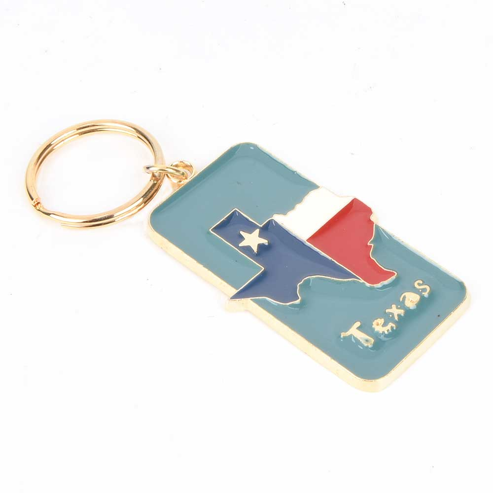 Brass Blue Texas State Flag Keychain