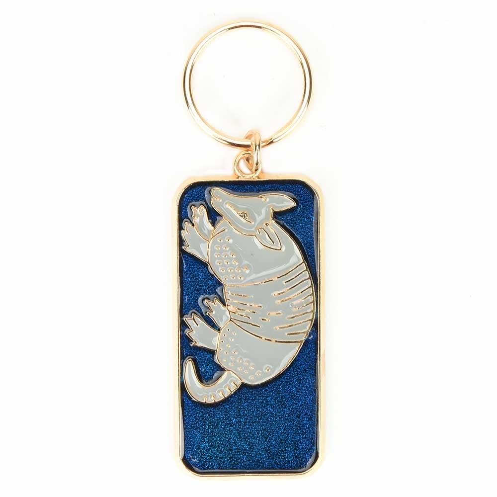 Silver Aardvark On Blue Brass Key Chain