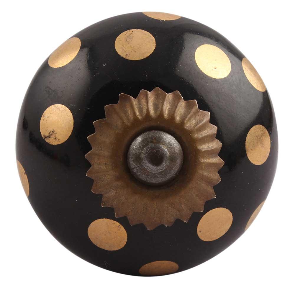 Golden Dot Ceramic Drawer Knobs Online