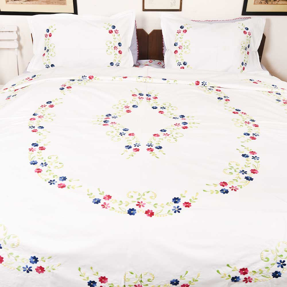 White Hand Embroidered Red Blue Floral Quilt Cover+2Pillow Cover