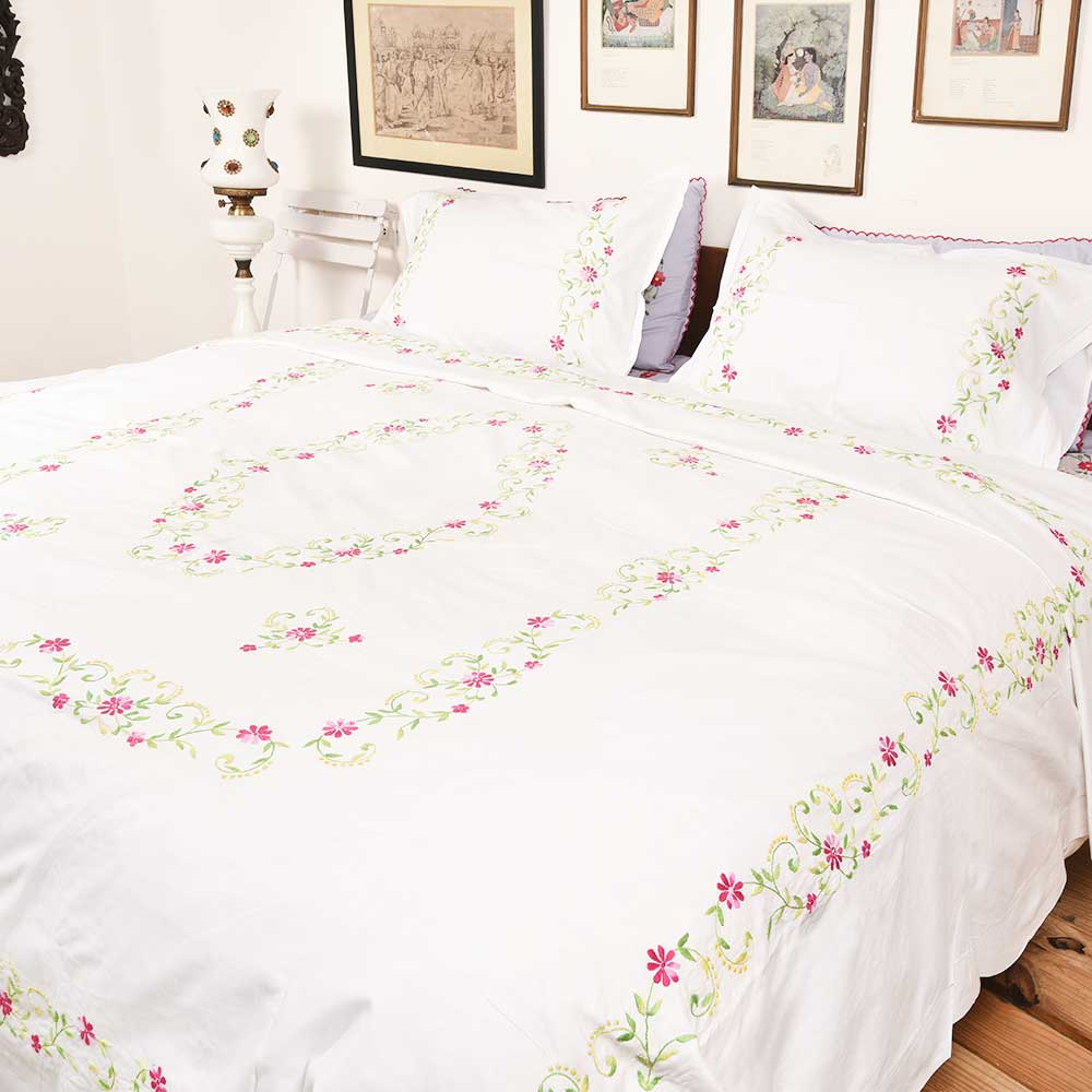 White Cotton Hand Embroidered Pink Petals leaves Duvet Cover+2Pillow Cover