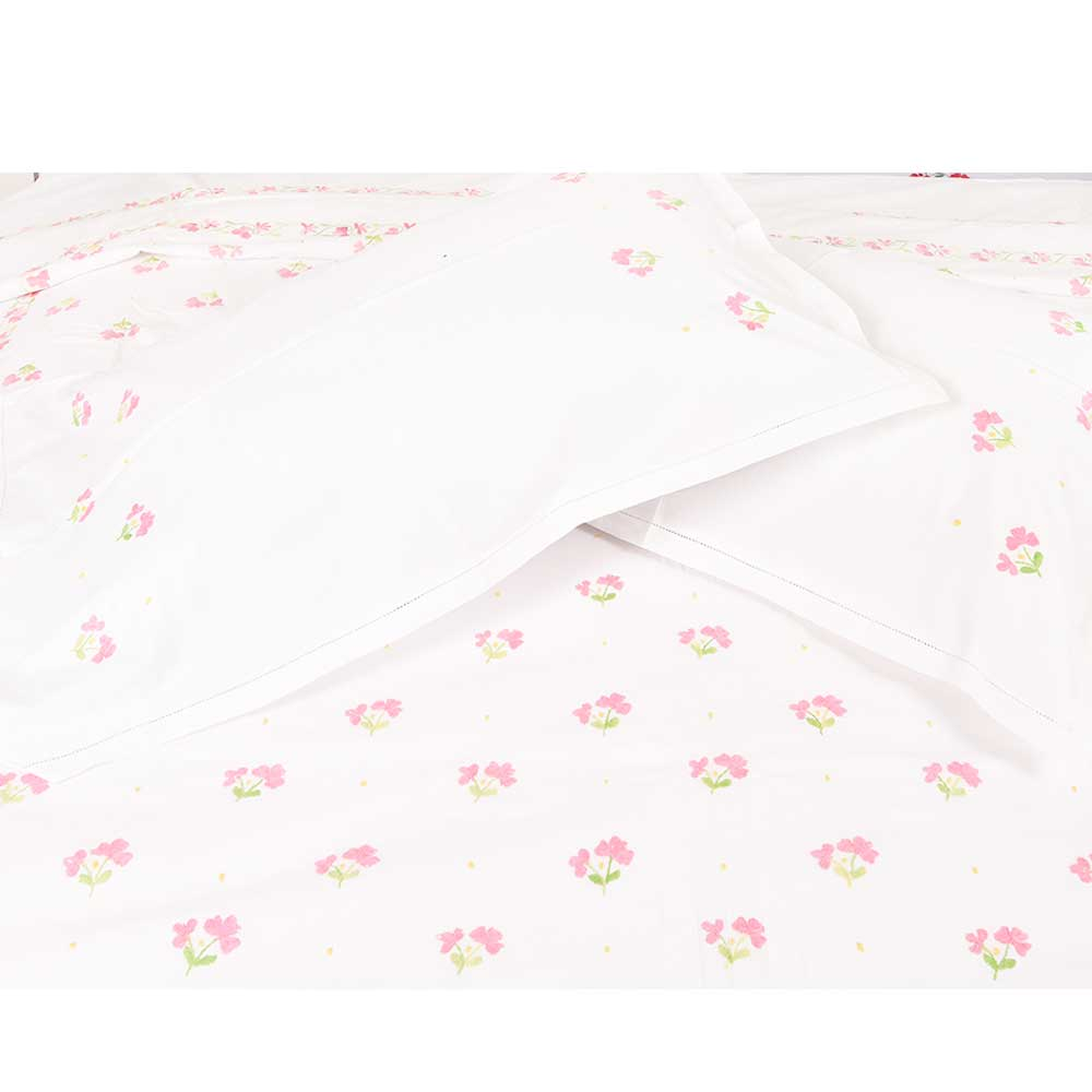 White Cotton Duvet Cover With Pink Floral Hand Embroidery +2 Pillow Covers.