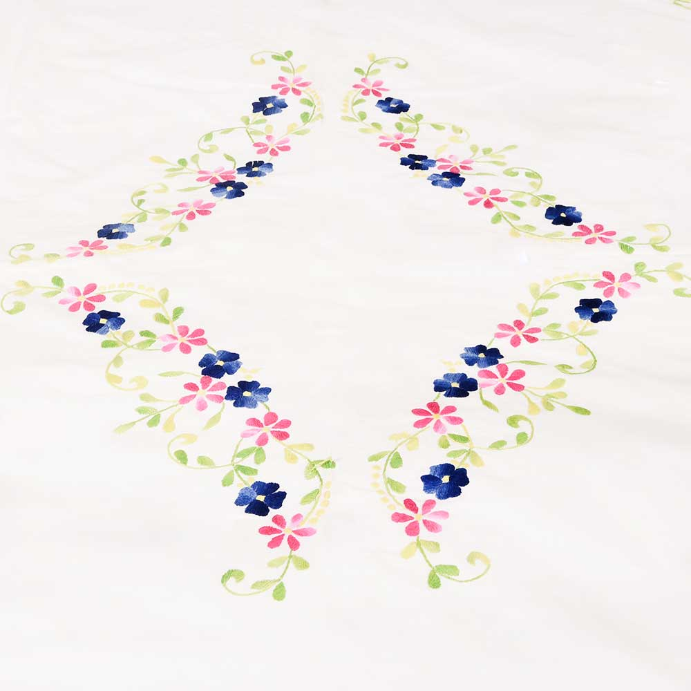 White Hand Embroidered Duvet Cover with Red Blue Floral Design+2 Pillow Covers
