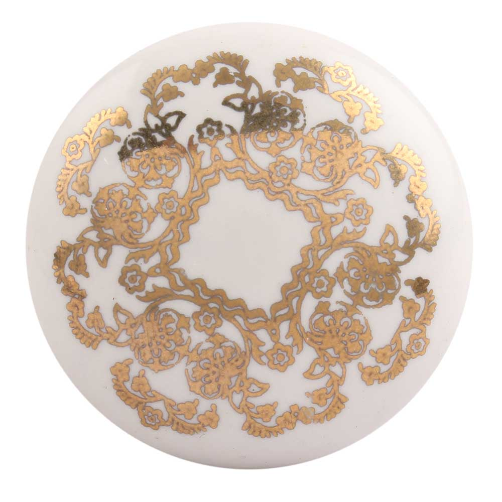 Golden Flower Flat Ceramic Drawer Knob