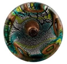 Peacock Feather Flat Glass Drawer Knob