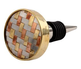 Silver Round Metal And Wooden Wine Stopper